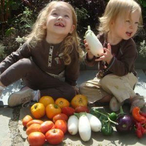 In de herfst is er veel te oogsten in de moestuin met kinderen.